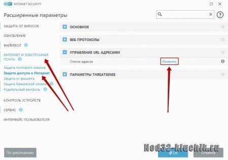 Как добавить сайт в белый список ESET NOD32?